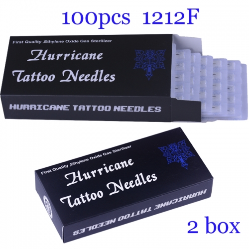 100Pcs Flat Super Quality Hurricane Tattoo Needles 1212F with 2BOX