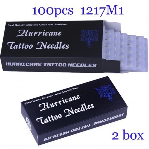 100Pcs Single Stack Magnum Super Quality Hurricane Tattoo Needles 1217M1 with 2BOX