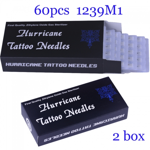 100Pcs Single Stack Magnum Super Quality Hurricane Tattoo Needles 1239M1 with 2BOX